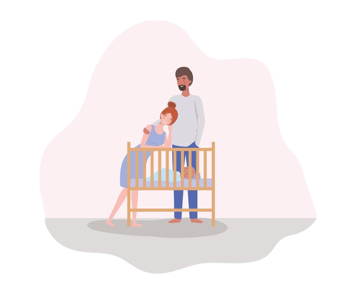 pais cuidando de um bebê recém-nascido vetor