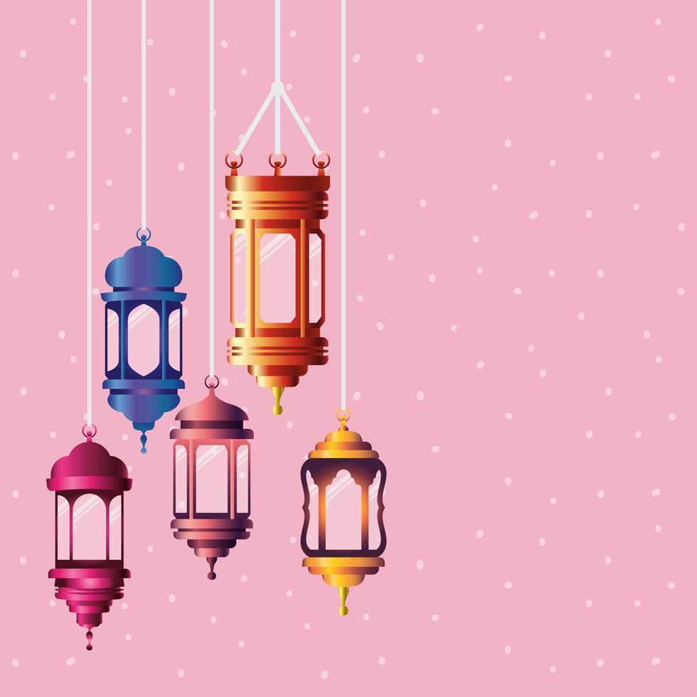 lanternas coloridas ramadan kareem penduradas vetor