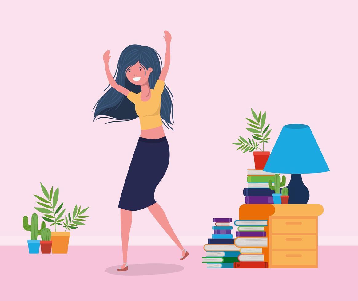 mulher feliz no design da sala de estudo vetor