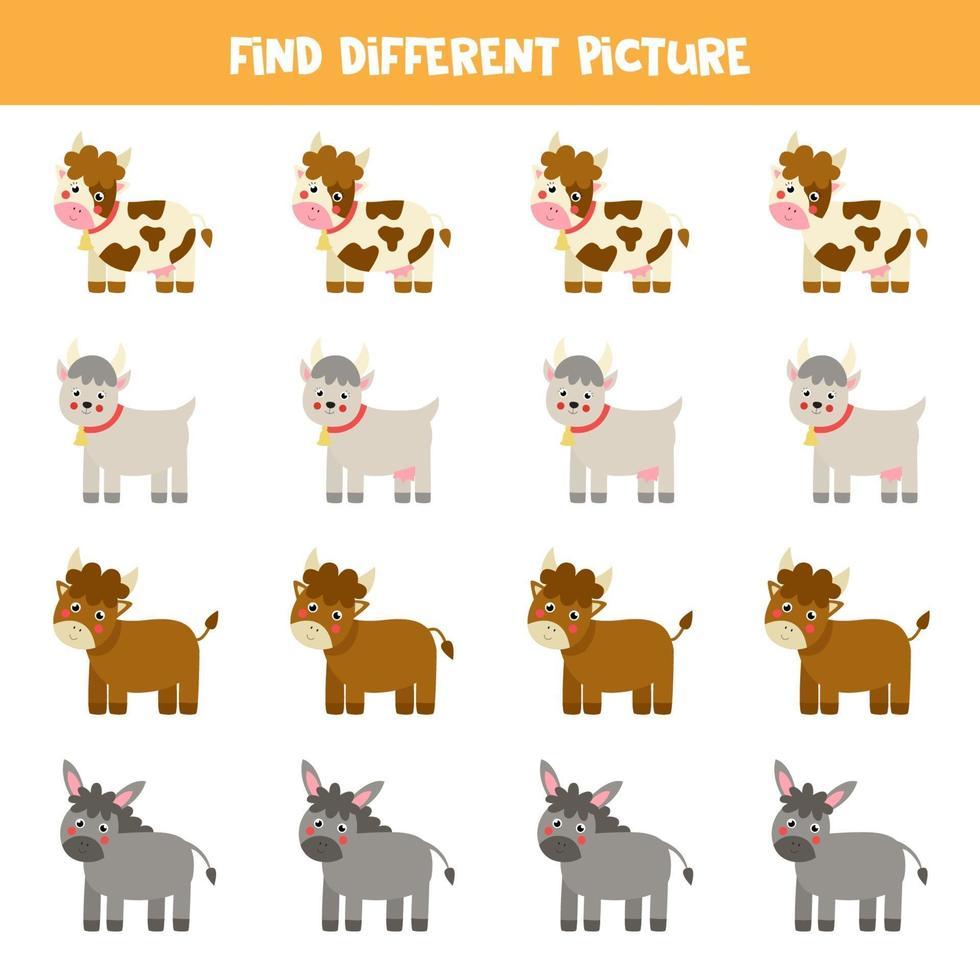 encontre um animal diferente dos outros. planilha com o tema fazenda. vetor