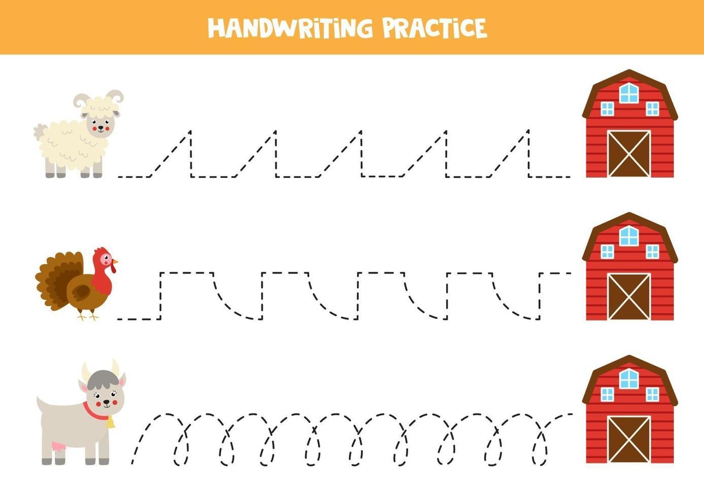 trace as linhas com animais de fazenda. prática da escrita. vetor