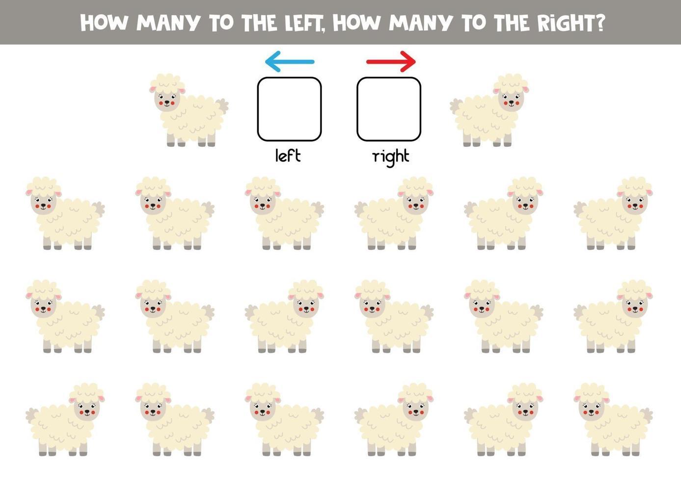 esquerda ou direita com ovelhas bonitas. planilha lógica para pré-escolares. vetor