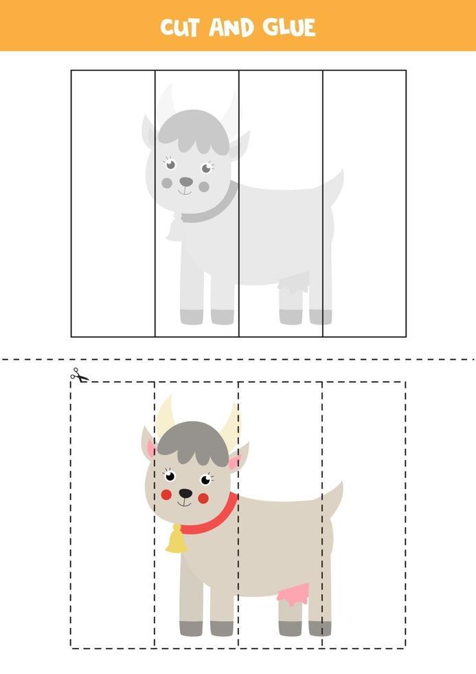 Corte e cole o jogo para crianças com uma cabra bonita. prática de corte para pré-escolares. vetor