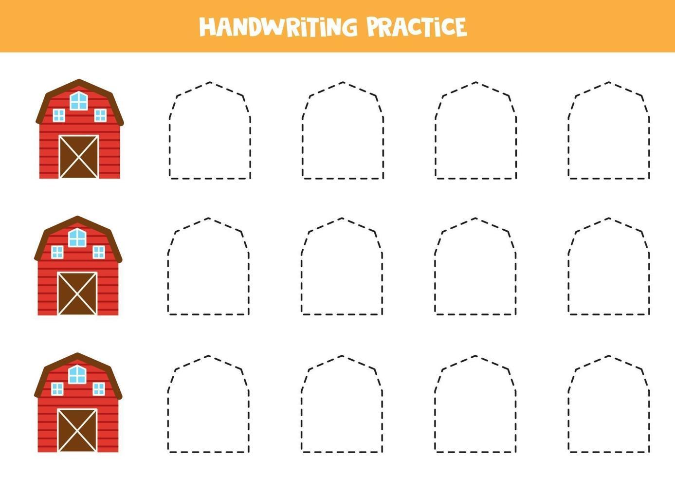 trace as linhas com celeiro. prática da escrita. vetor