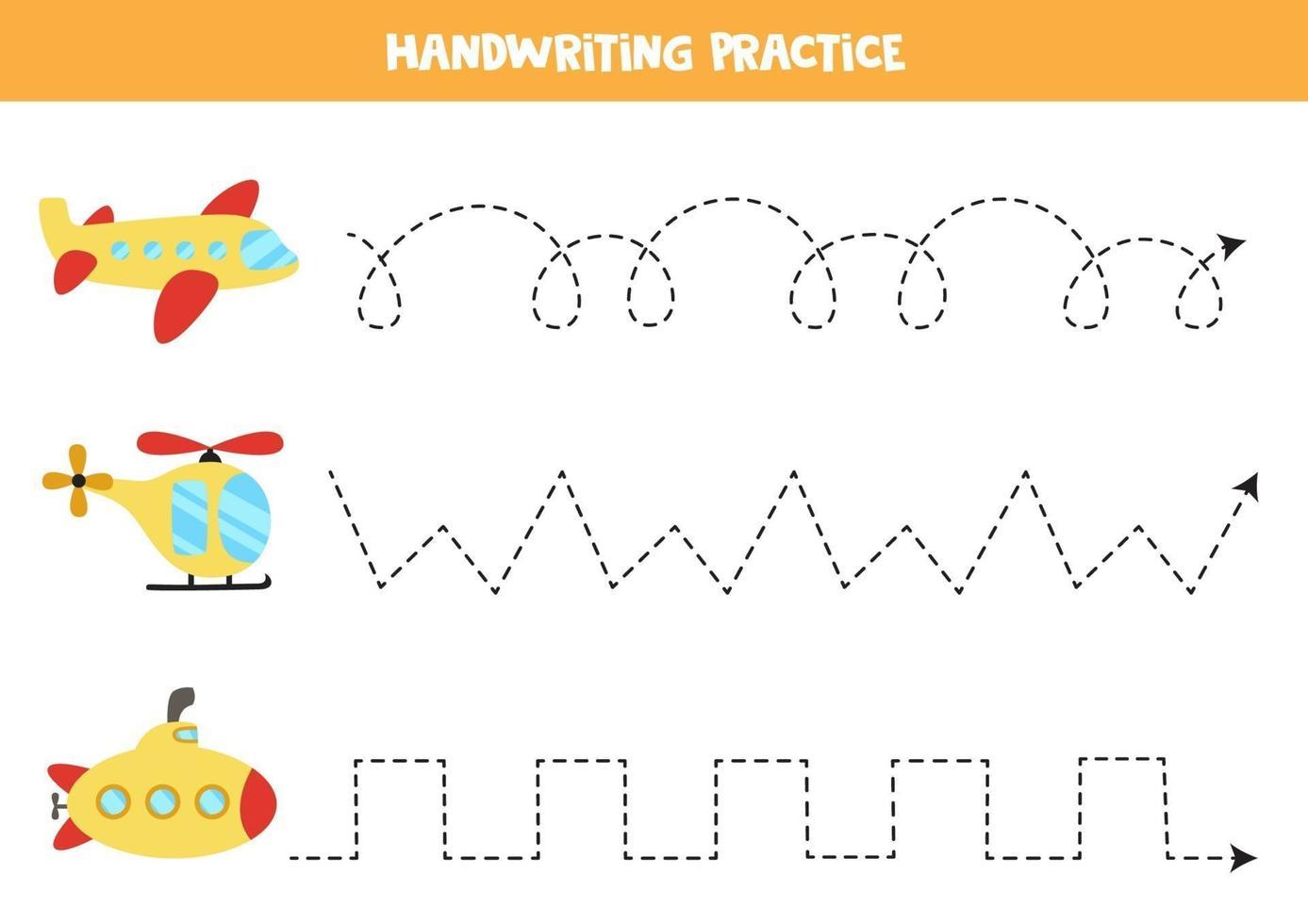 trace as linhas com meios de transporte. prática da escrita. vetor