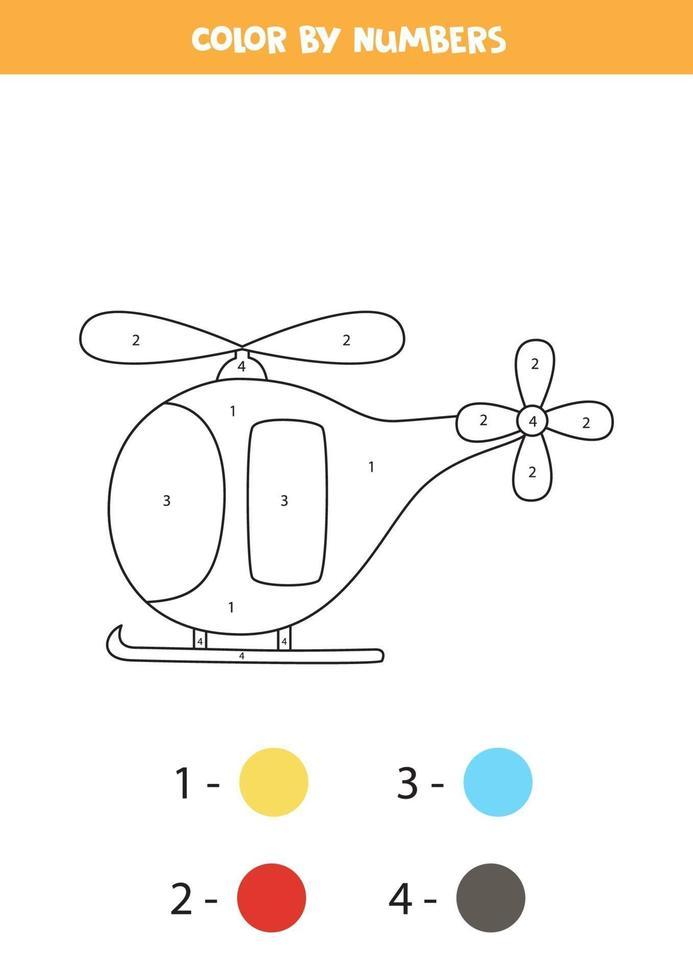 helicóptero dos desenhos animados de cores por números. planilha de transporte. vetor
