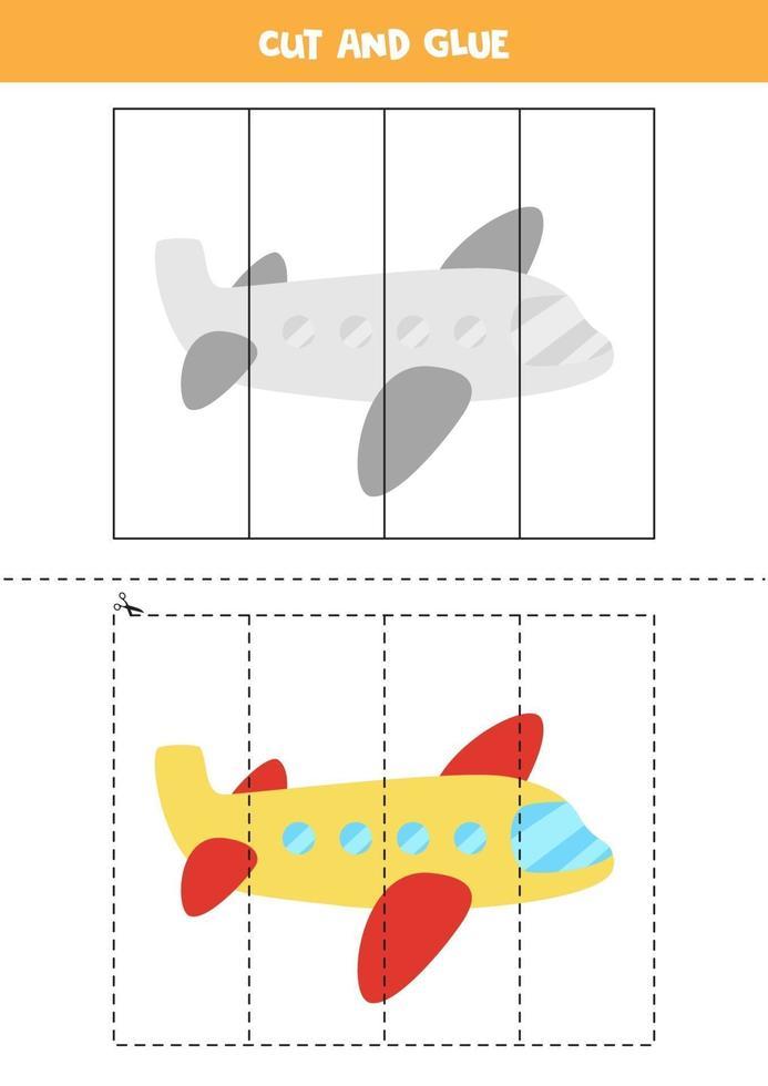 Corte e cole o jogo para crianças com avião de desenho animado. prática de corte para pré-escolares. vetor