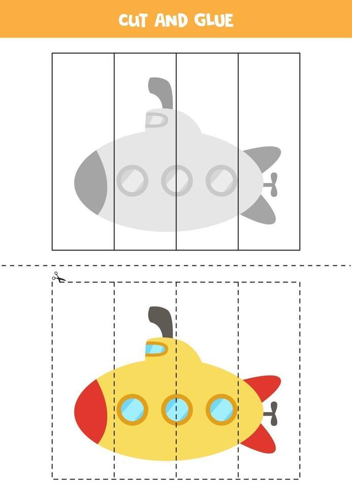 Corte e cole o jogo para crianças. submarino dos desenhos animados. vetor