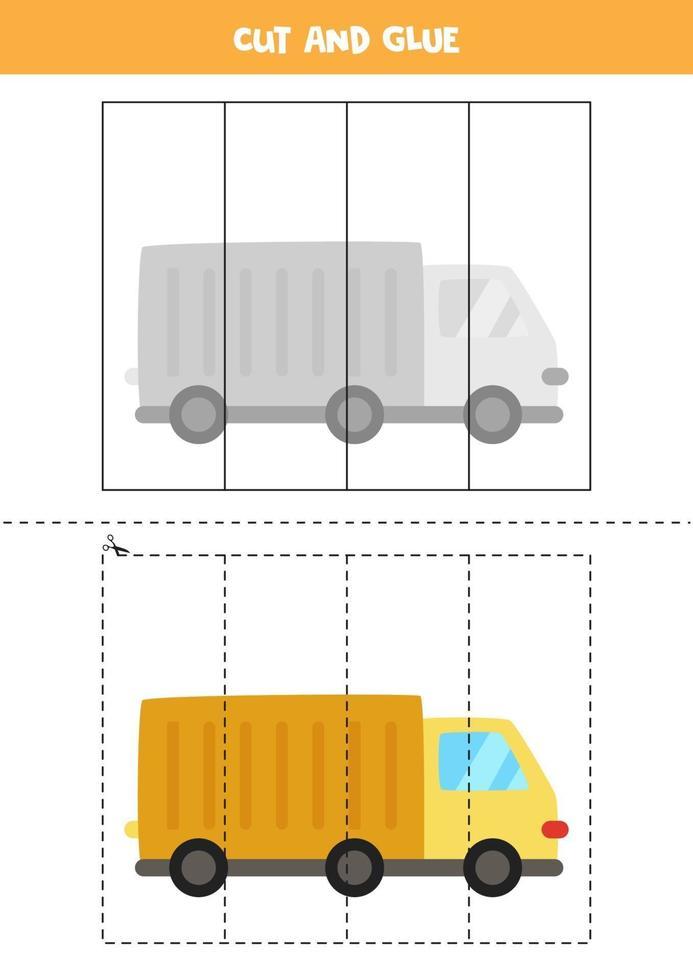 Corte e cole o jogo para crianças. caminhão dos desenhos animados. vetor