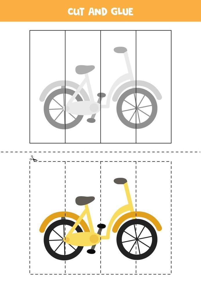 Corte e cole o jogo para crianças. bicicleta dos desenhos animados. vetor