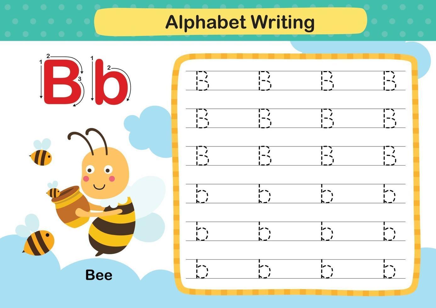 Exercício de abelha de letra do alfabeto com ilustração de vocabulário de desenho animado, vetor