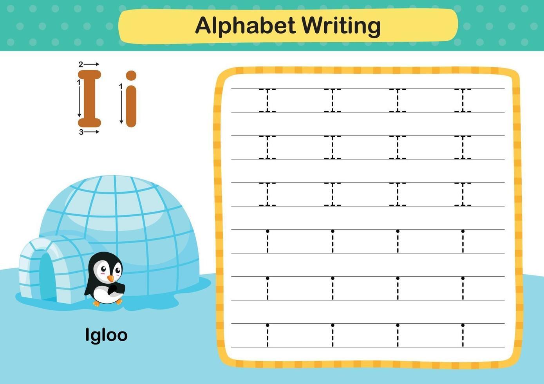 letra do alfabeto exercício i-iglu com ilustração de vocabulário de desenho animado, vetor