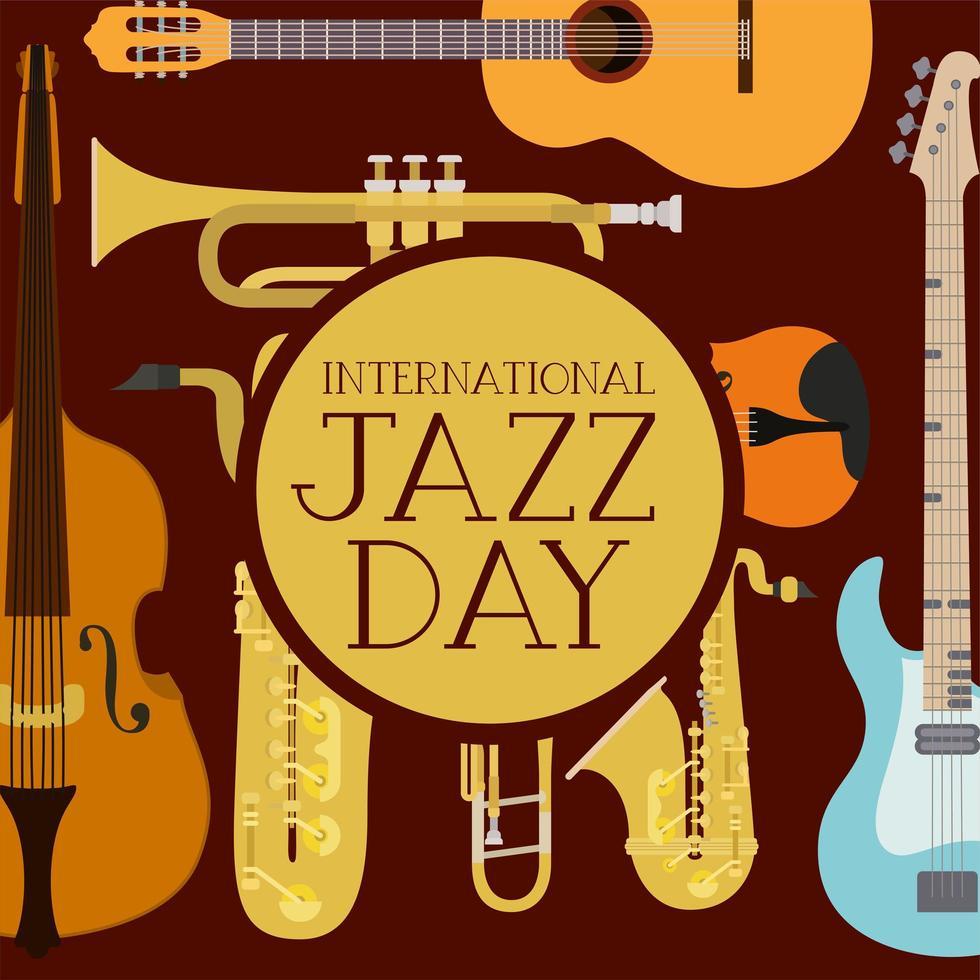 pôster do dia do jazz com instrumentos musicais vetor