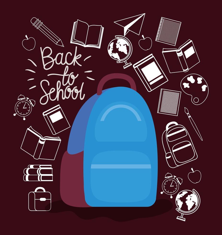 mochila e material de volta à escola vetor