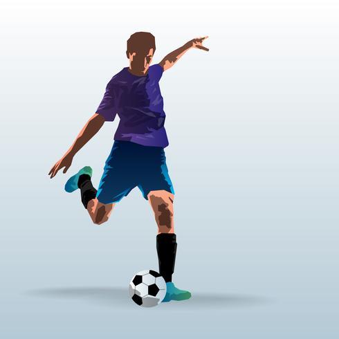 Jogador de futebol chutando a ilustração de bola vetor