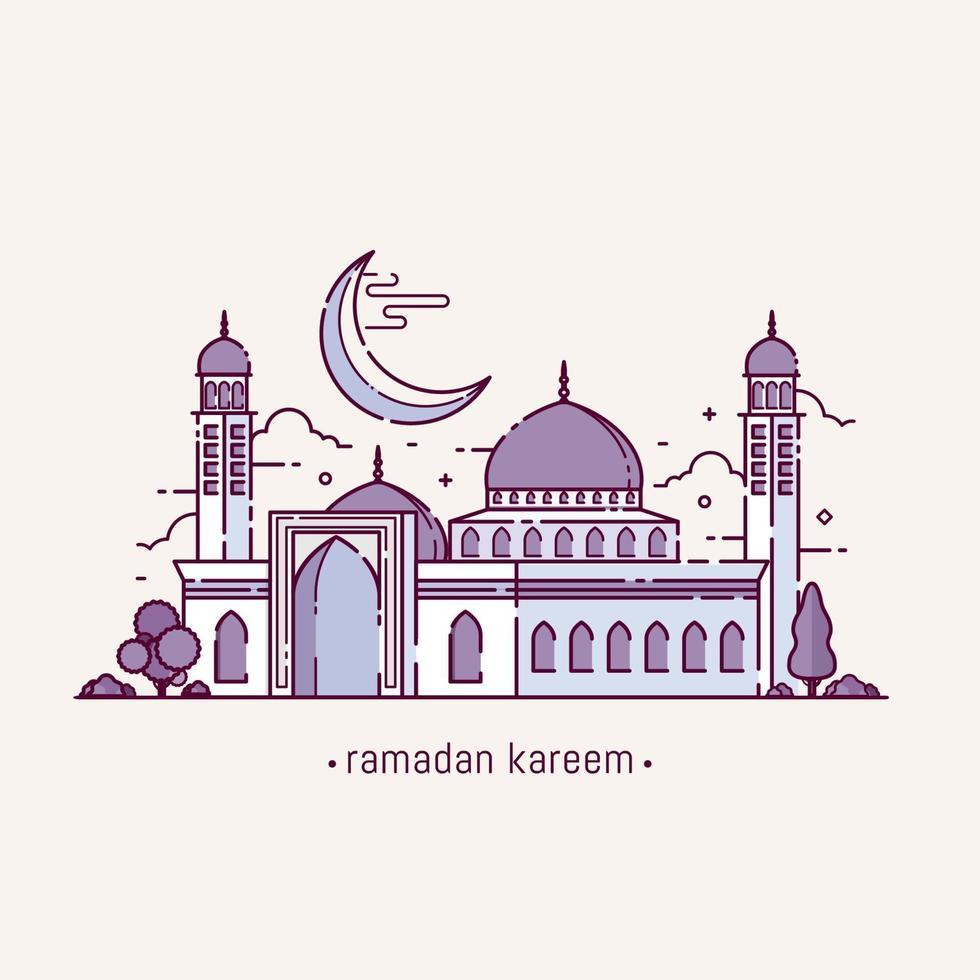 ramadan kareem com objeto mesquita em estilo line art vetor