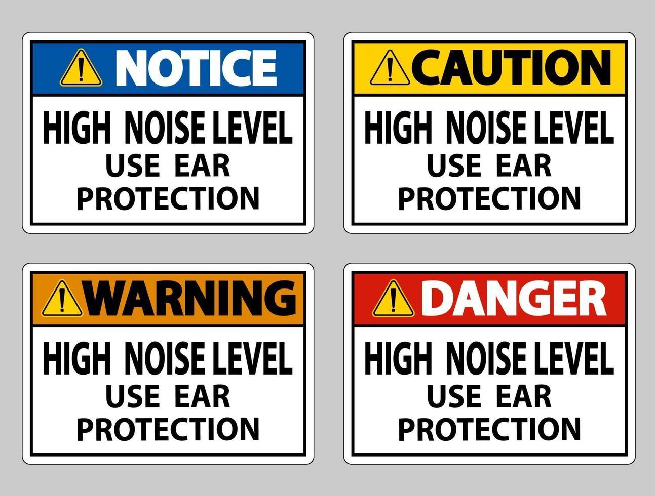 alto nível de ruído use conjunto de sinalização de proteção auditiva vetor