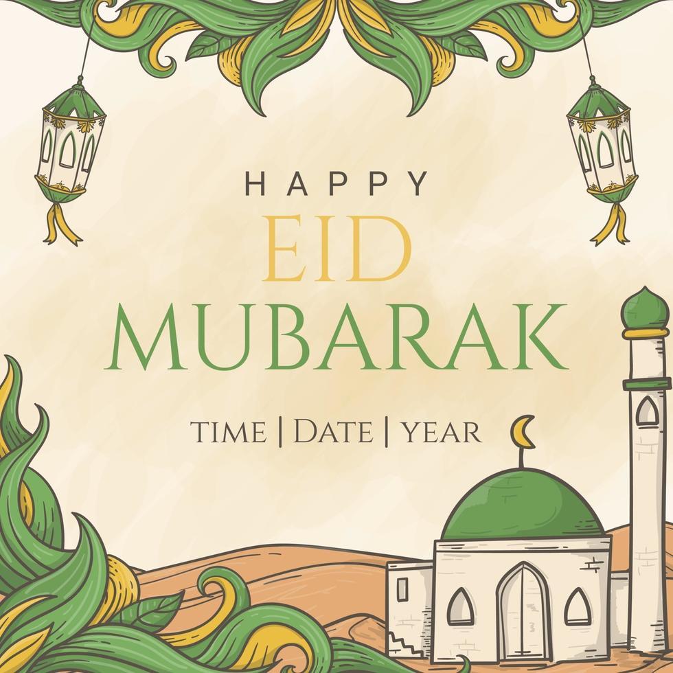 eid mubarak saudando belas letras no fundo de ornamento islâmico desenhado à mão vetor