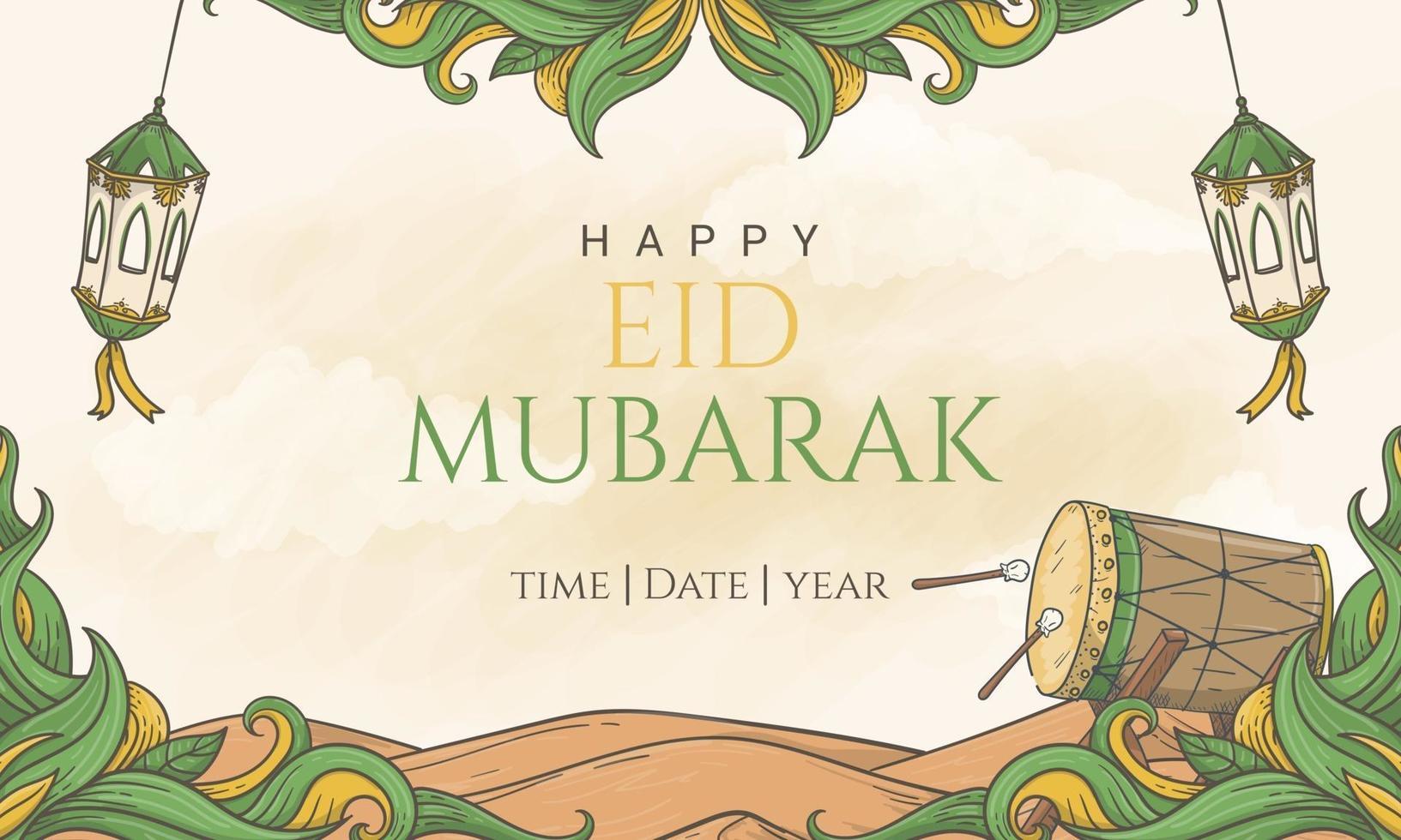 mão desenhada feliz eid mubarak fundo de banner com letras bonitas vetor