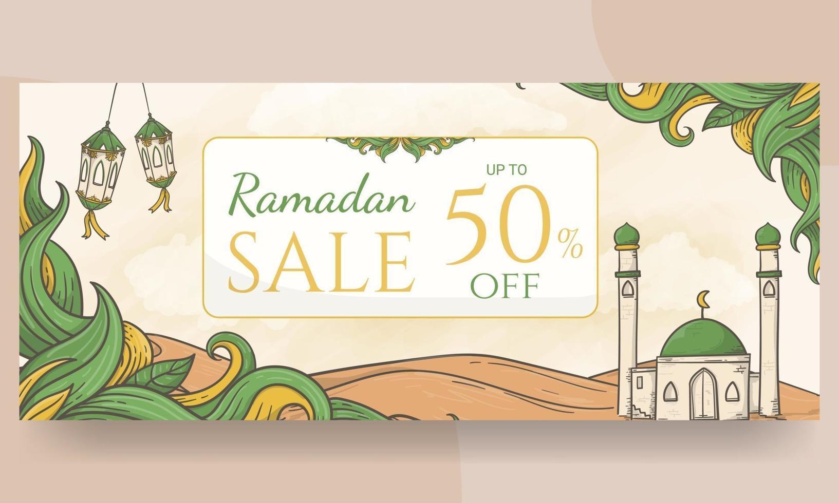 fundo de banner de venda de ramadã desenhado à mão vetor