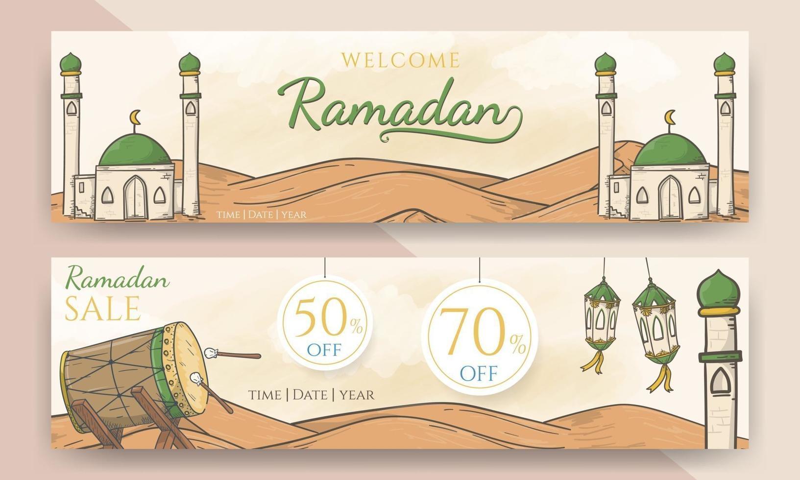 desenhado à mão ramadão de boas-vindas e banner de venda do ramadão vetor