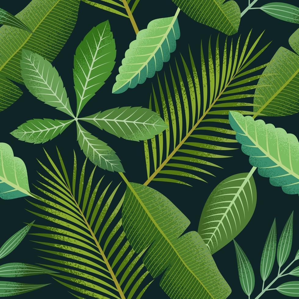 padrão sem emenda tropical com folhas de palmeira verde sobre fundo escuro. vetor