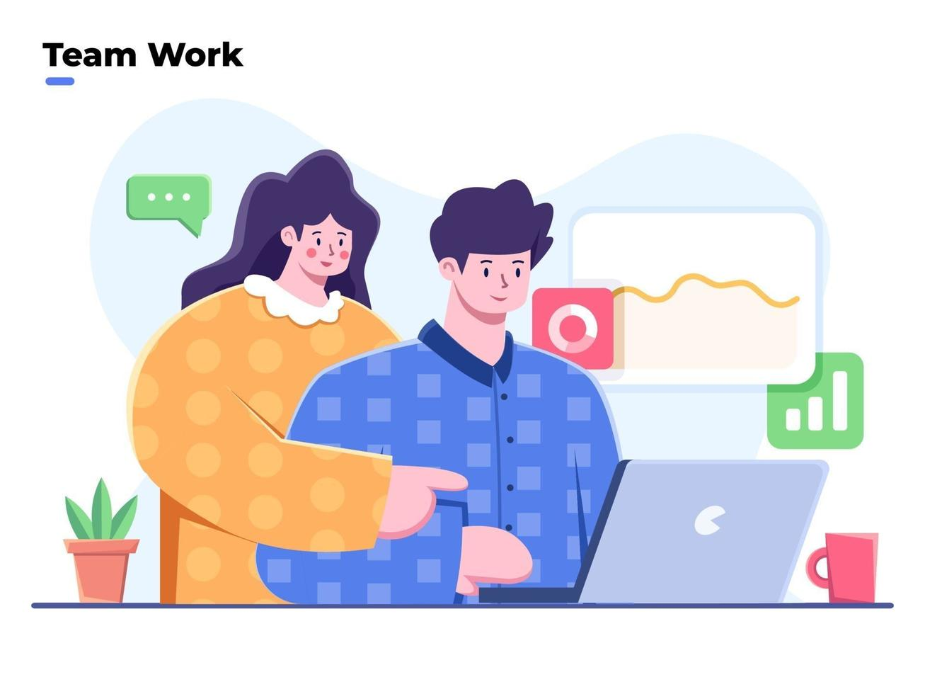 ilustração plana de colaboração em equipe de negócios no escritório com o computador laptop de uso do funcionário. sentado na mesa do escritório e discutindo a ideia. pessoas conversando e trabalhando no escritório de computadores. vetor