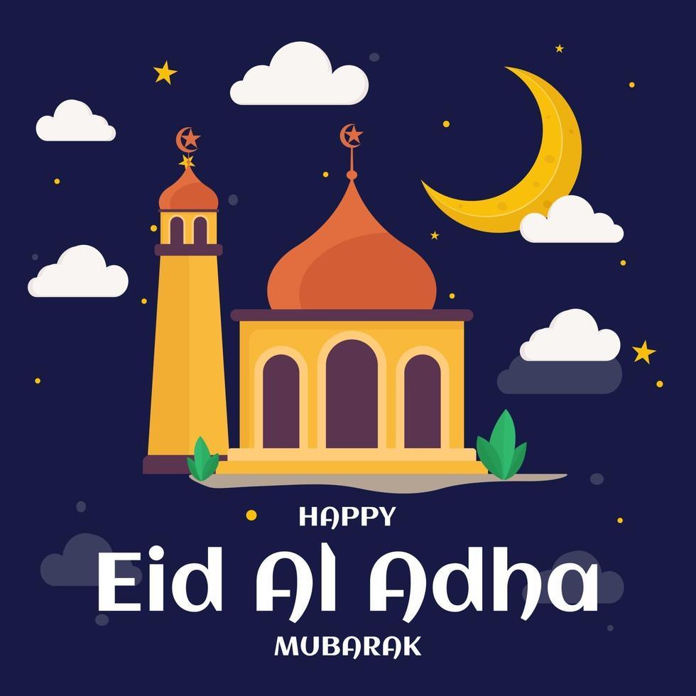ilustração de comemoração de eid al adha feliz vetor