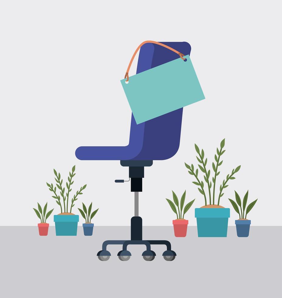 cadeira de escritório i com etiqueta suspensa e plantas de casa vetor