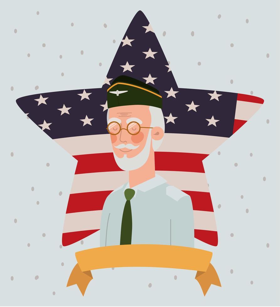 cartão do dia do memorial com veterano e bandeira dos EUA na estrela vetor