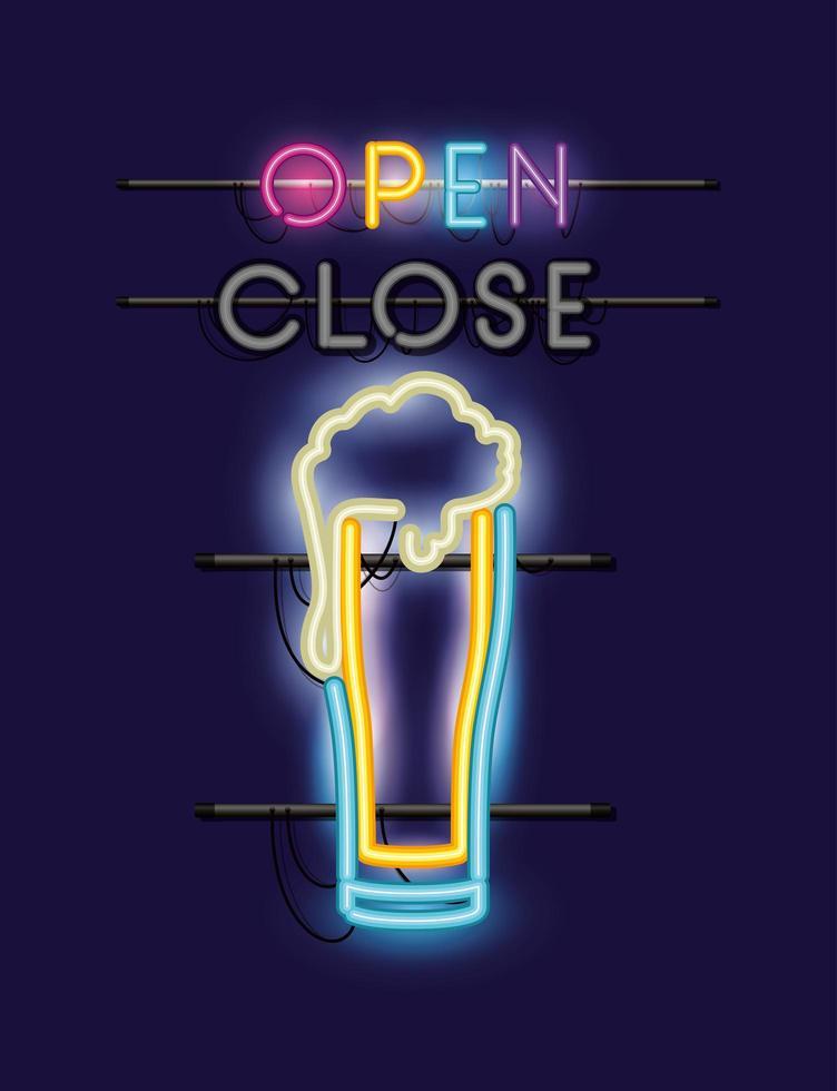 luz de néon de copo de cerveja vetor