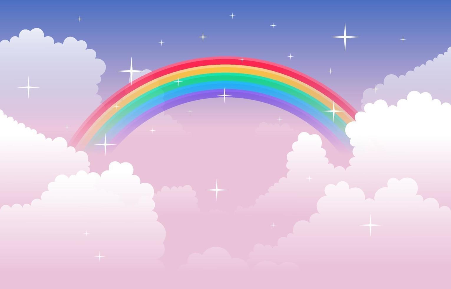 ilustração da natureza lindo arco-íris colorido nuvem céu vetor