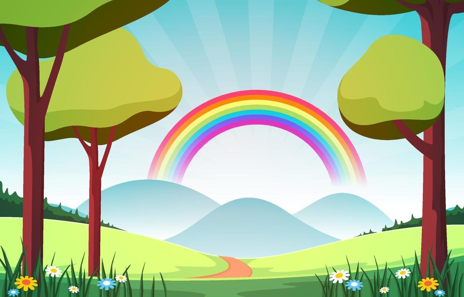 lindo arco-íris no verão natureza paisagem paisagem ilustração vetor