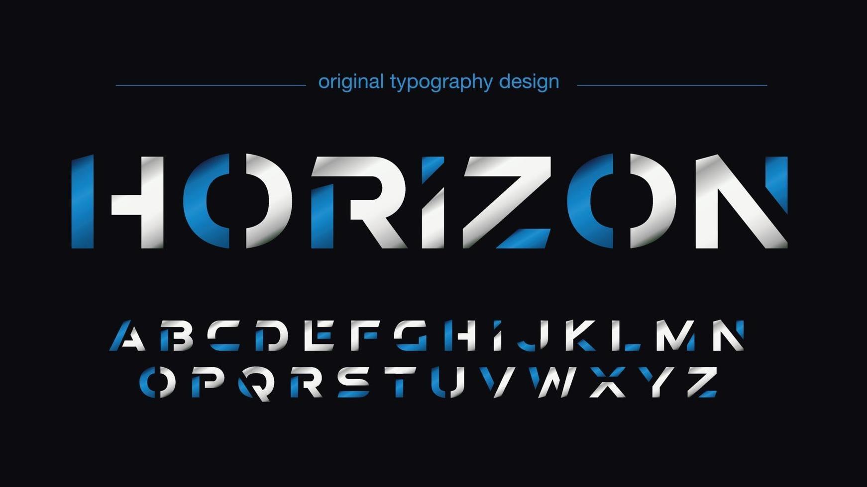 tipografia de esportes futuristas fatiados em azul e prata vetor