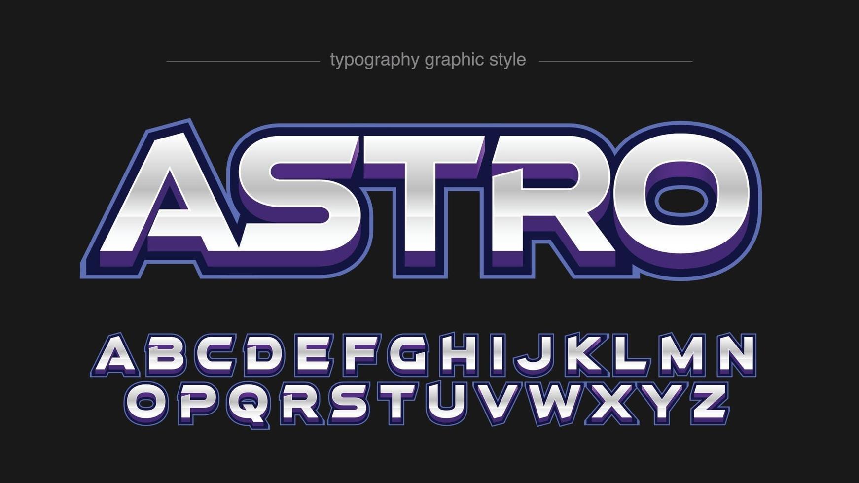 efeito de texto de tipografia de esportes futuristas em prata roxa colorida em 3D vetor
