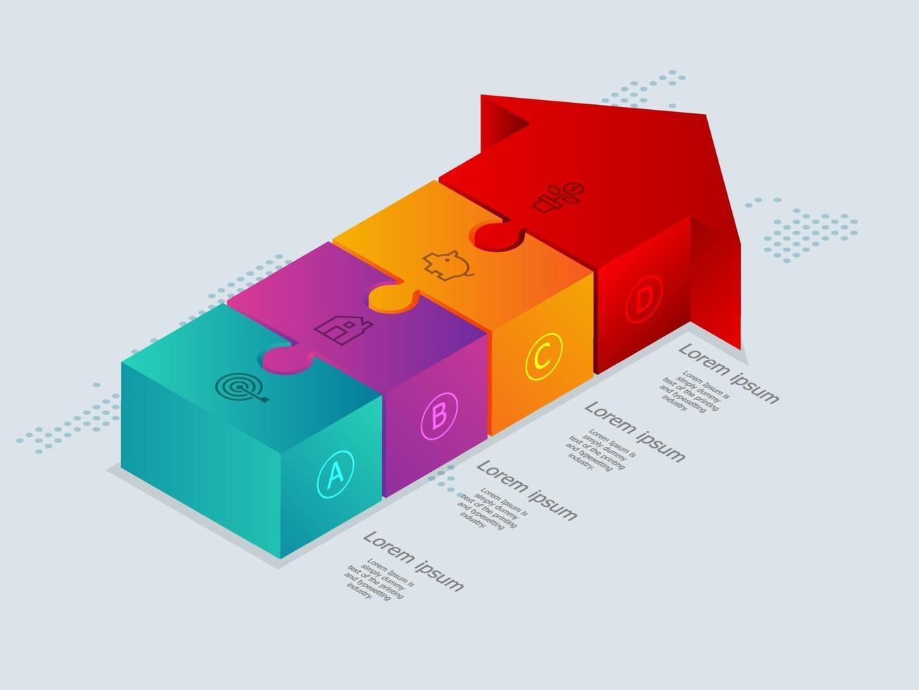 seta abstrata isométrica linha do tempo infográficos 4 etapas com mapa mundial para negócios e apresentação vetor