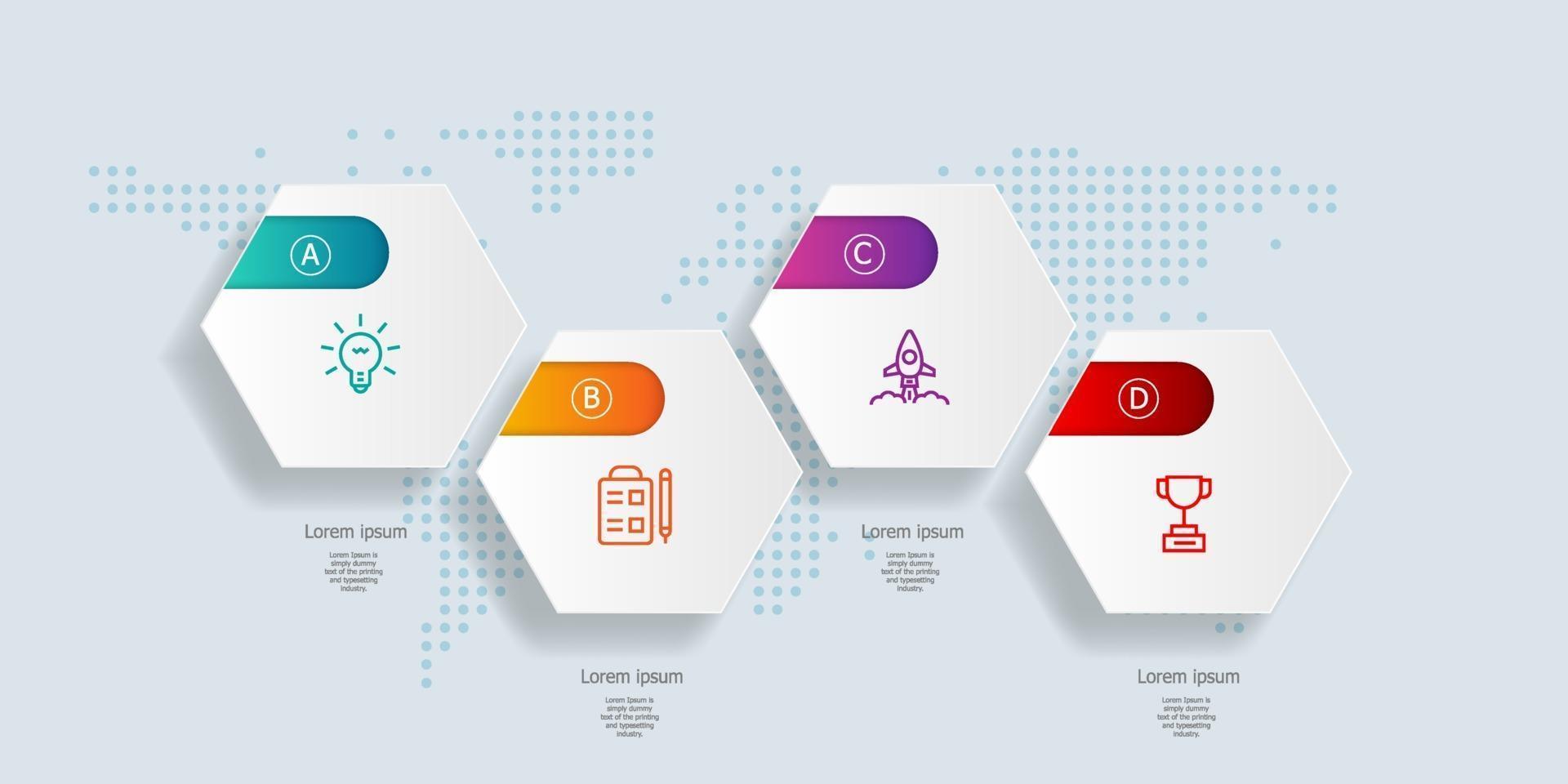 Resumo de infográficos de linha do tempo hexágono horizontal 4 etapas com mapa mundial para negócios e apresentação vetor