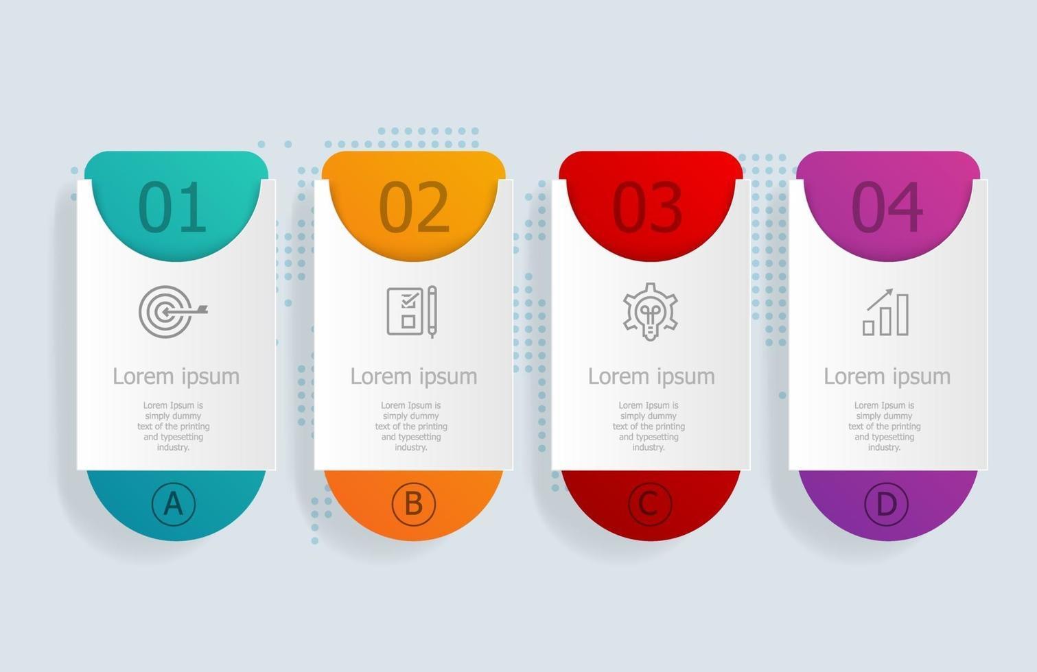 4 etapas de infográficos de linha do tempo horizontal abstrato com mapa mundial para negócios e apresentação vetor