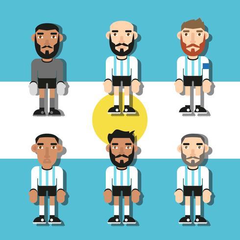 Vetor liso dos jogadores de futebol de Argentina