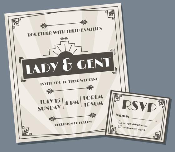 Vetor de Design de convite de casamento Art Deco