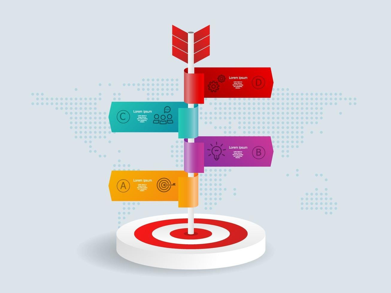 alvo de dardos abstrato com setas infográficos 4 etapas com mapa mundial para negócios e apresentação vetor