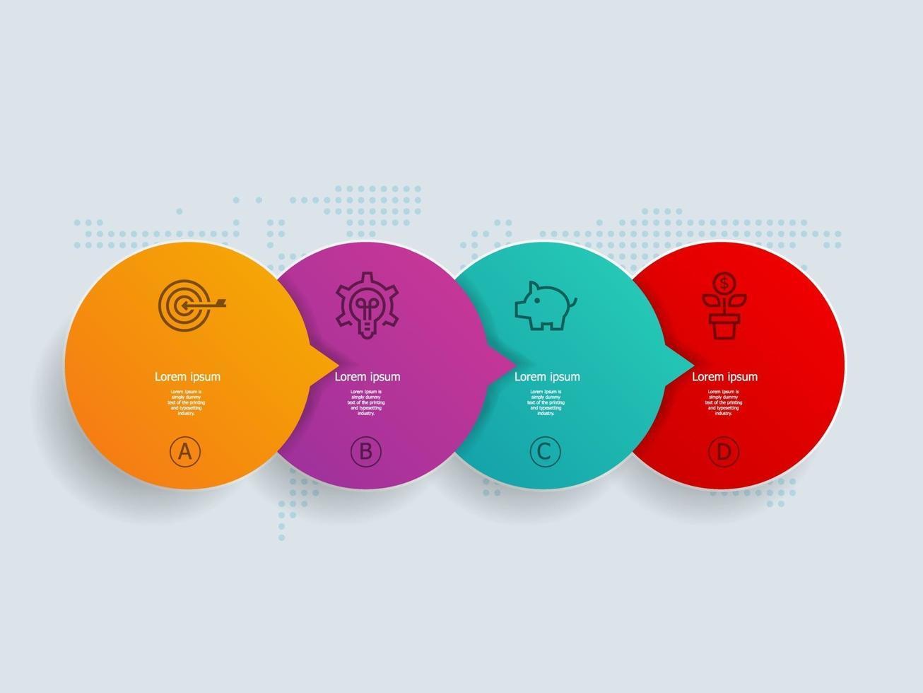 4 etapas de infográficos de linha do tempo de círculo abstrato com mapa mundial para negócios e apresentação vetor