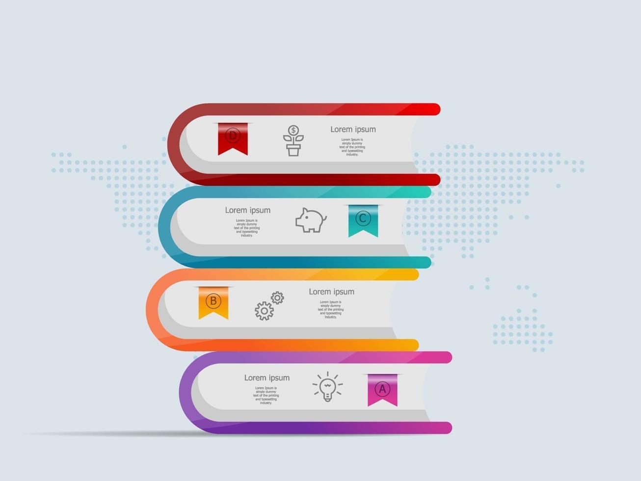 pilha de livros infográficos modelo 4 etapas com mapa mundial para negócios e apresentação vetor