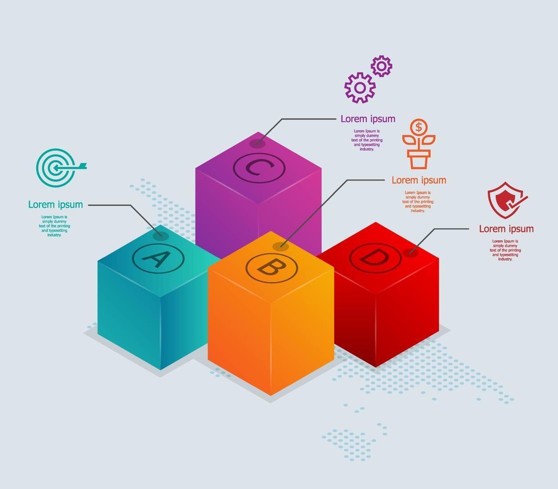 caixas abstratas infográficos isométricos 4 etapas com mapa mundial para negócios e apresentação vetor