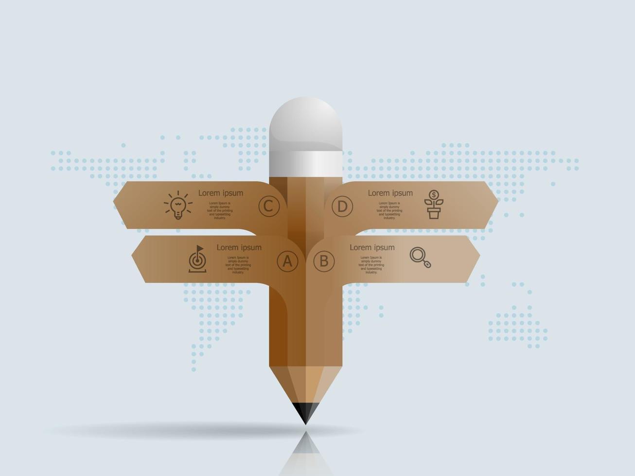 Resumo lápis infográficos 4 etapas com mapa mundial para negócios e apresentação vetor