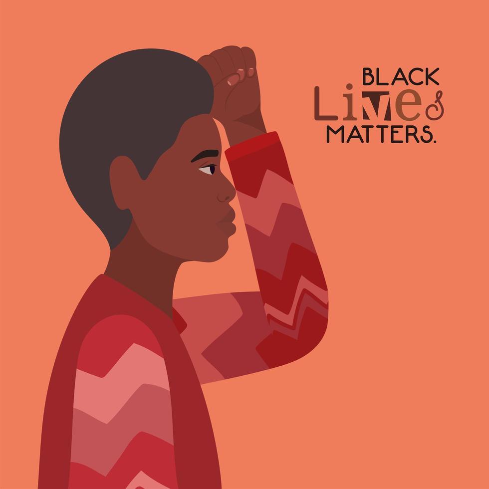 jovem negro negro com o punho levantado porque vidas negras são importantes vetor