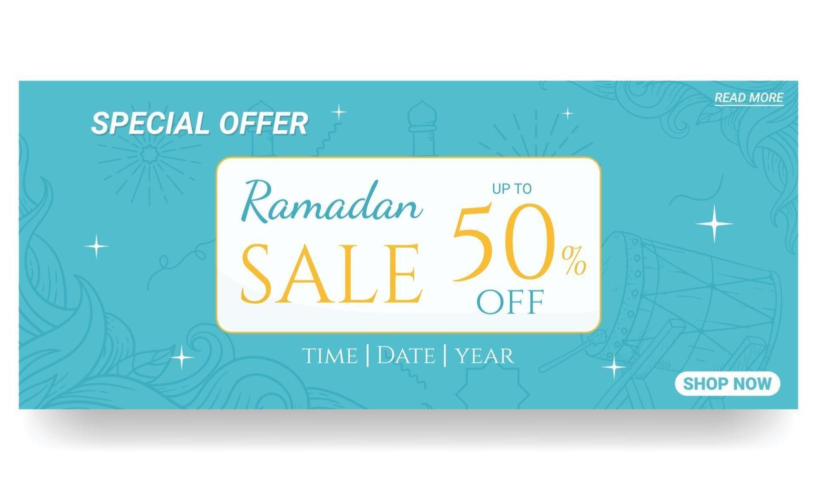 mão desenhada ramadan. doodles banner de venda do ramadã vetor