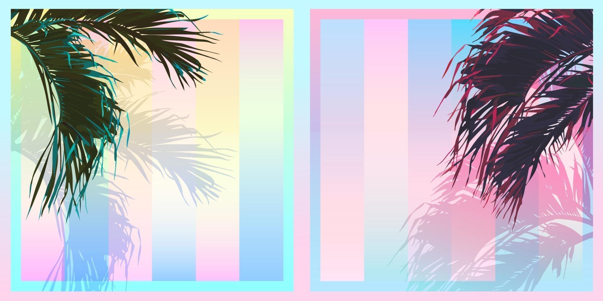 folha de coqueiro tropical exótica, paleta de cores gradiente pastel de saturação doce, retro vintage nostálgico vetor