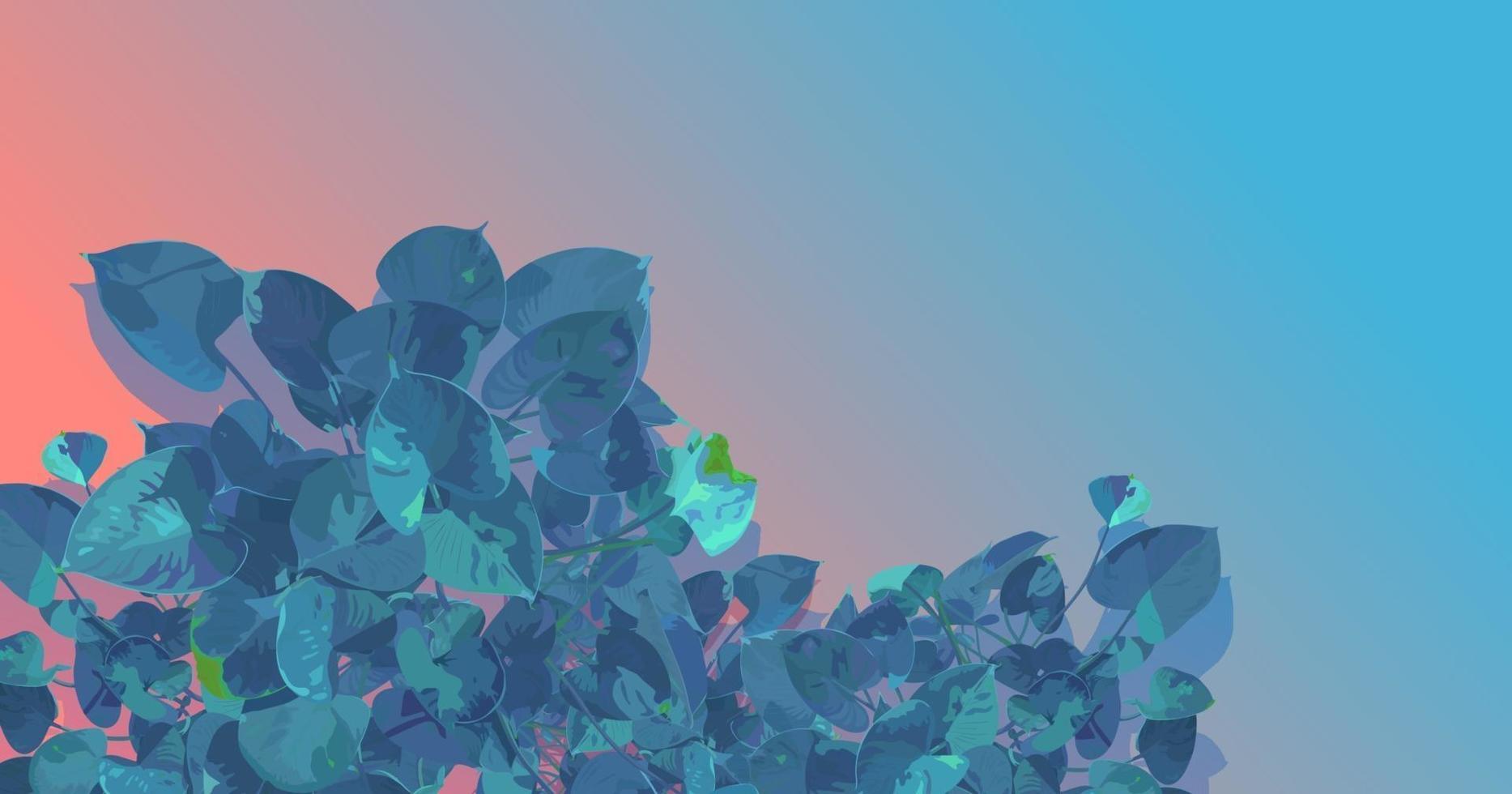 estilo plano de vetor de folha de araceae em fundo gradiente azul e laranja pastel. emoção nostálgica sentimento estético