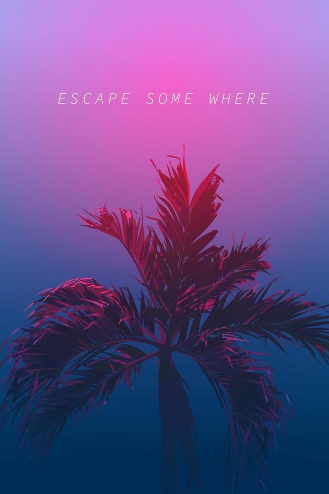 escape noturno palm 80s neon vetor